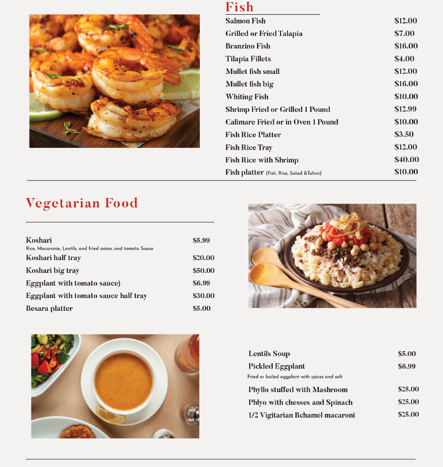 TAZA Restaurant Menu